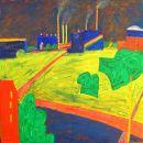 Landschaft mit Gasometer